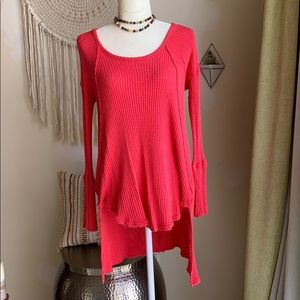 Free People waffle knit sweater top coral